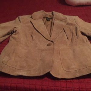 Beige Leather jacket from NY&Co